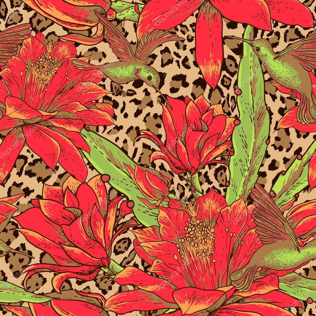 Seamless floral pattern on leopard background