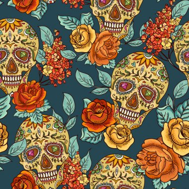Skull, diamond and Flowers Seamless Background