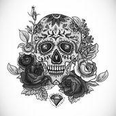 monochromatický lebky, diamond a květiny karta