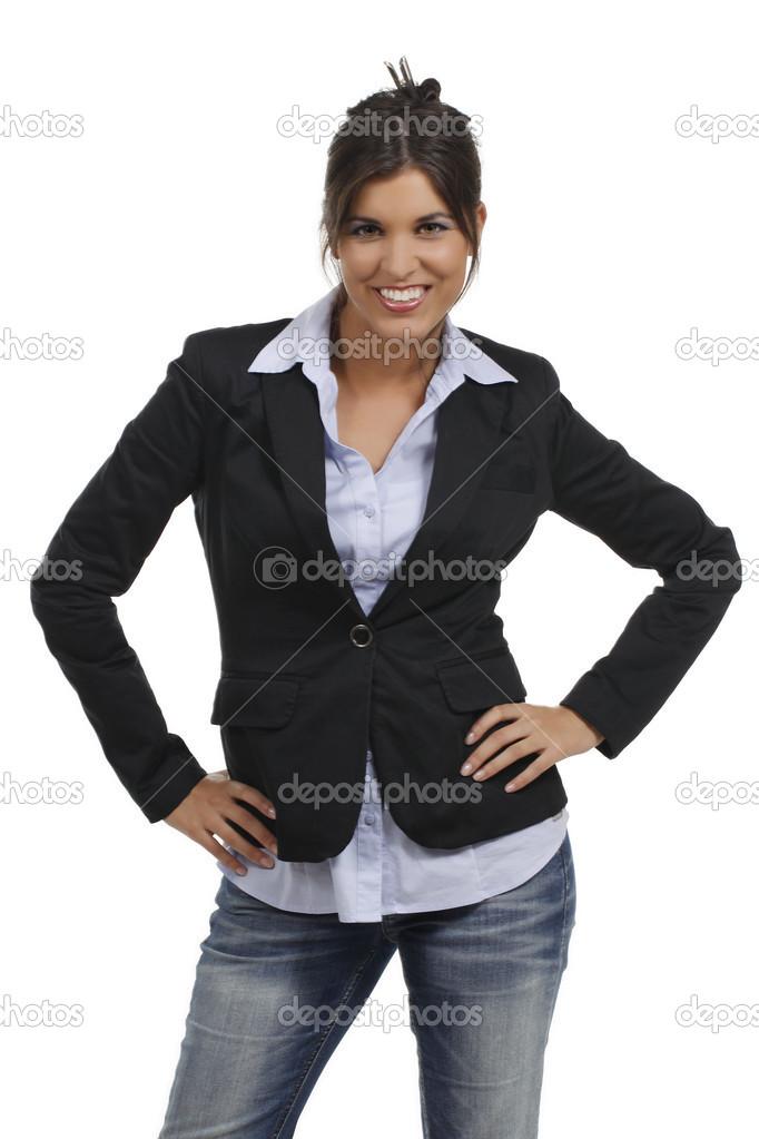 Attraktive Sekretärin Mit Business Kostüm Stockfoto