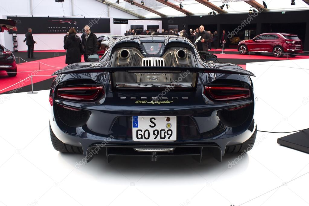 Porsche 918 Spyder Back View Stock Photo