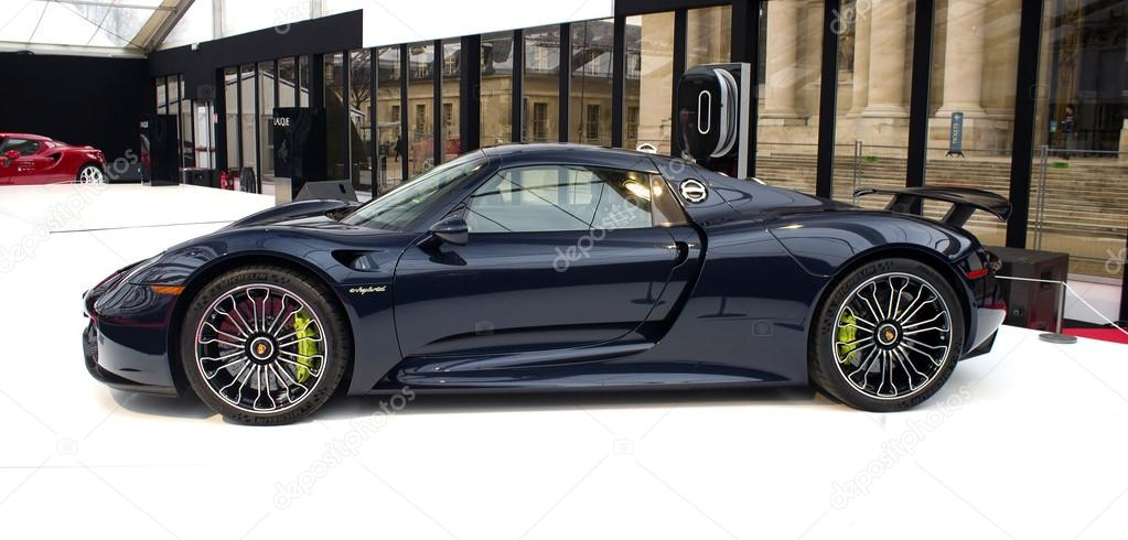 porsche 918 spyder black side view stock photo 40179695