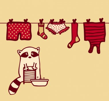 Vector raccoon washes and dries her clothes on the clothesline