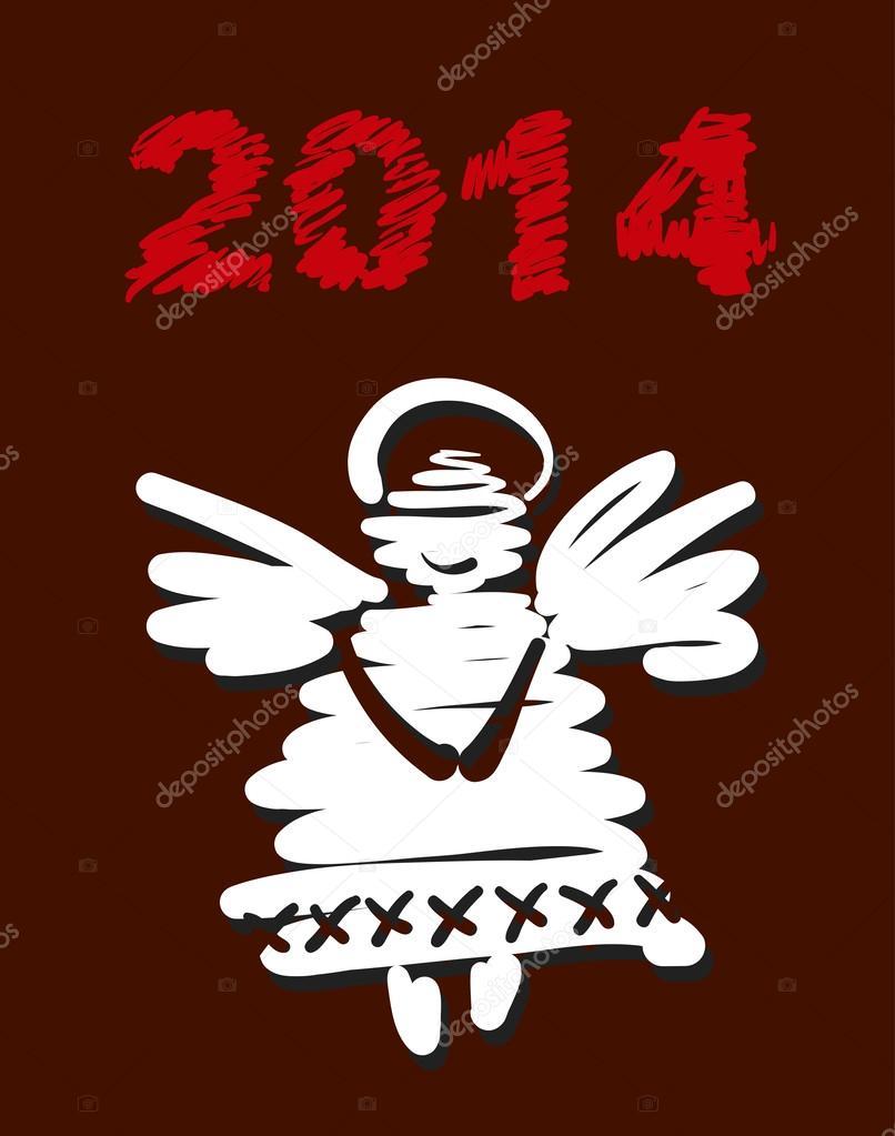 Noel Melek Ve Yılbaşı Dekorasyonu El Boyaması Vektör Stok Vektör