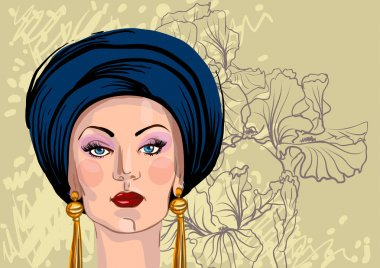 Vector portrait of woman in oriental headdress