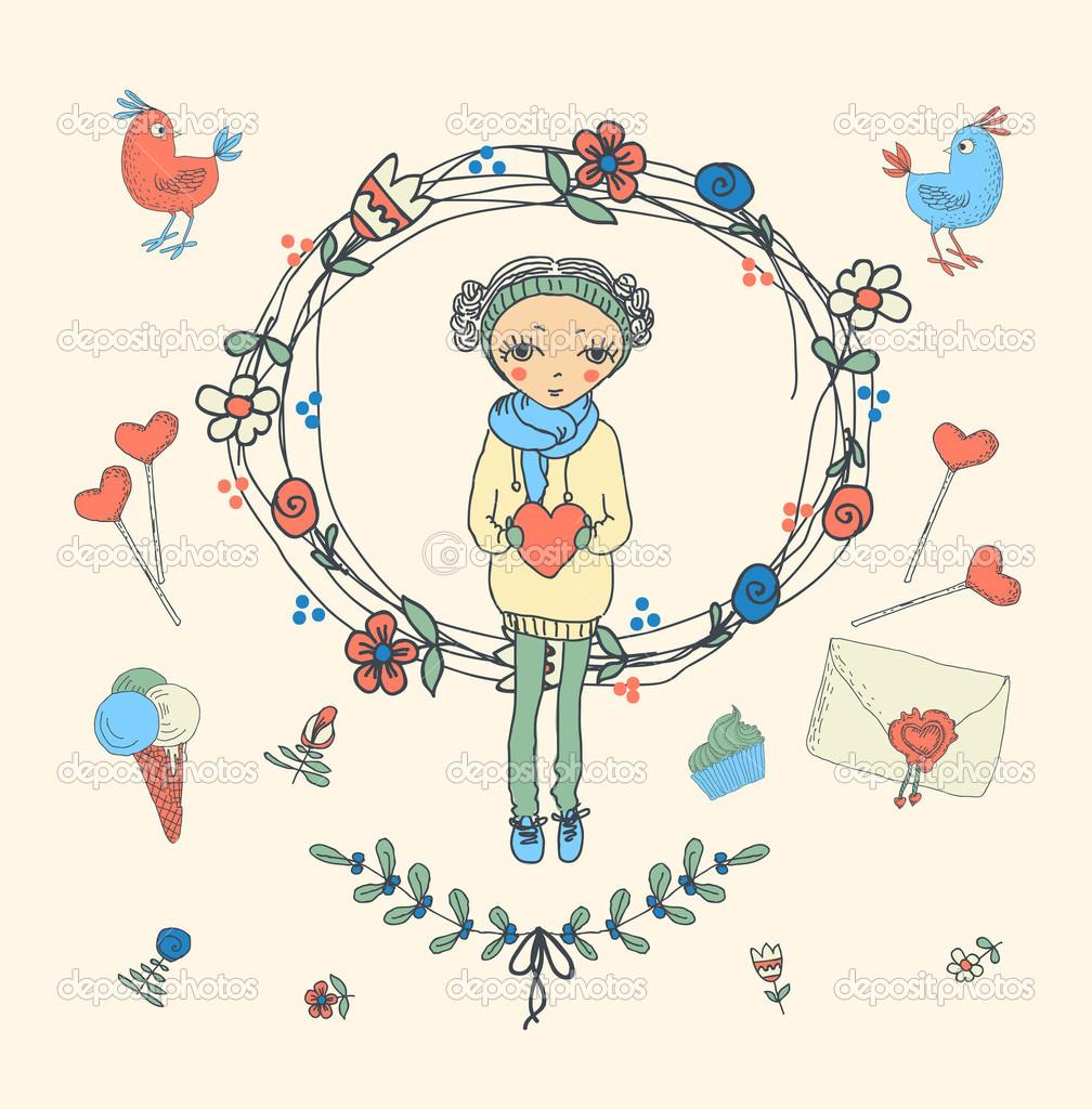 Vintage Bilderrahmen und handgezeichneten Liebe dekorative Elemente ...