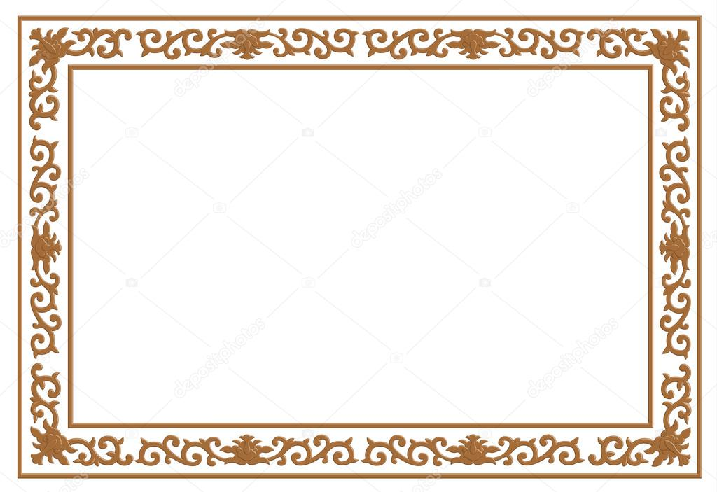 Floral Wood Carving Border Stock Vector