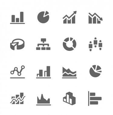 Graph and diagram icon set.