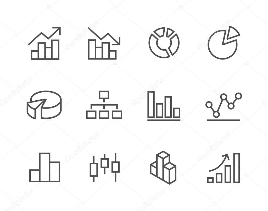 Stroked Graph and diagram icon set.