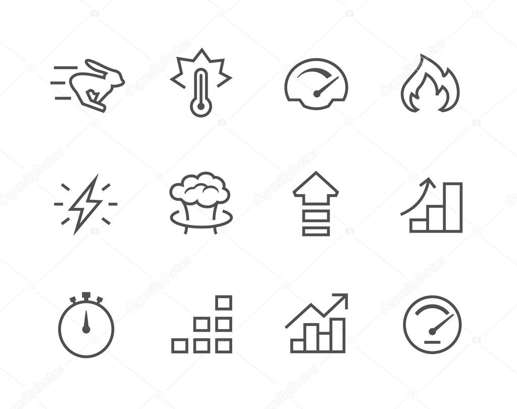 Simple Icon set related to Performance