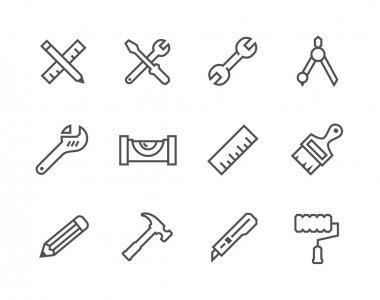Simple set of tools related vector icons for your design stock vector