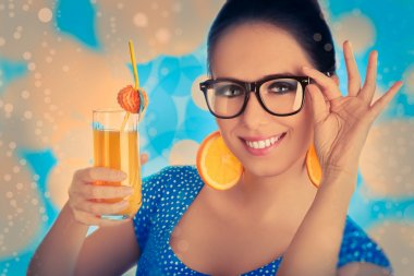 Smart Girl with Orange Juice and Orange Slice Earrings