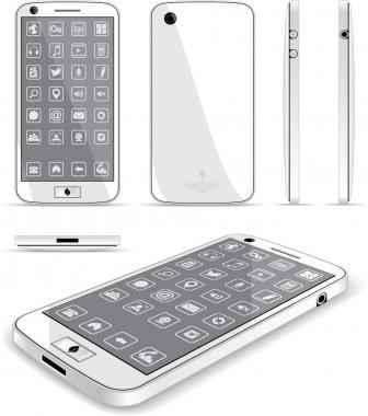 White Smart Phone - Multiple Views