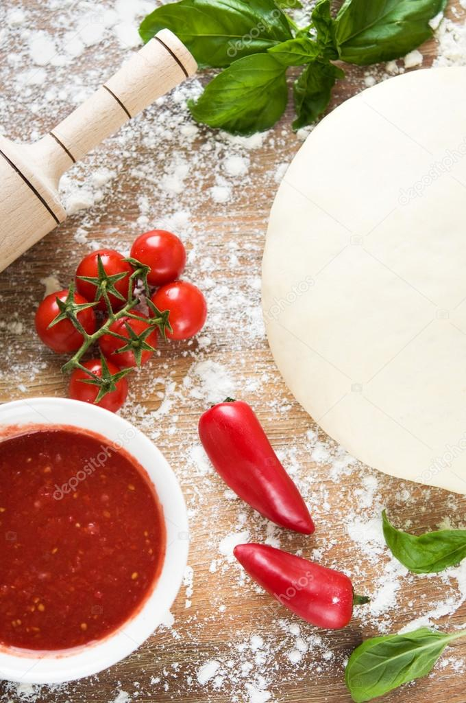 Ingredients for pizza baking