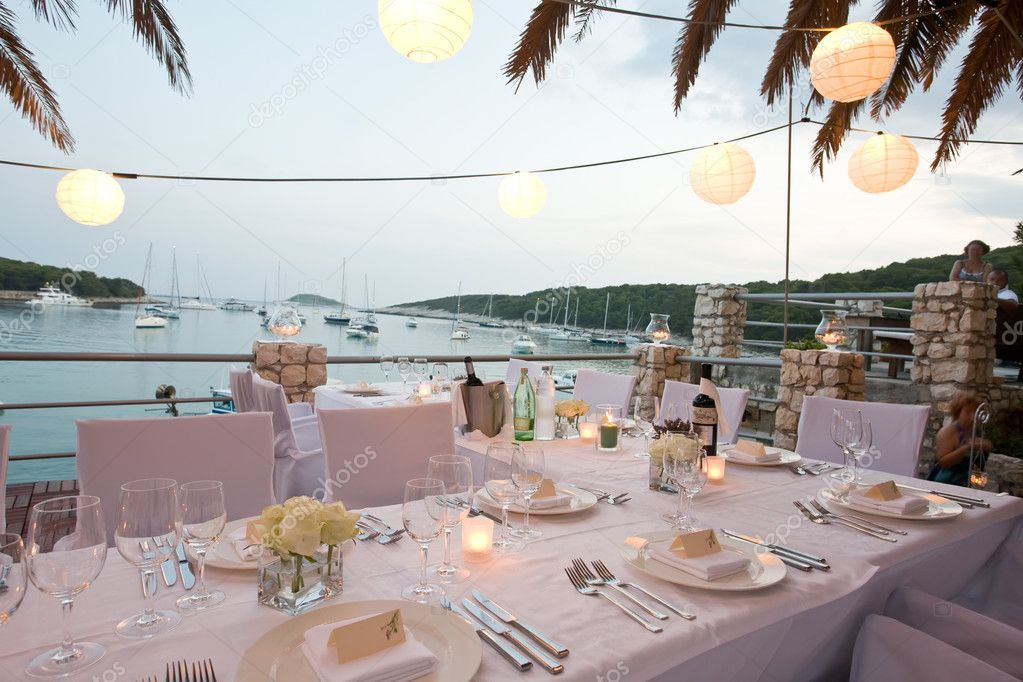 Tables by the waters edge
