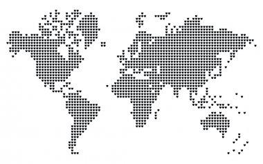 Heart shaped pixel world map.