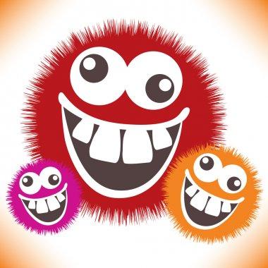 Crazy furry funny face cartoon design.