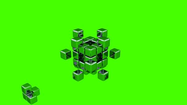 3D kostky - montáž dílů - zelené pozadí