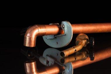 copper pipe cut torch and repair