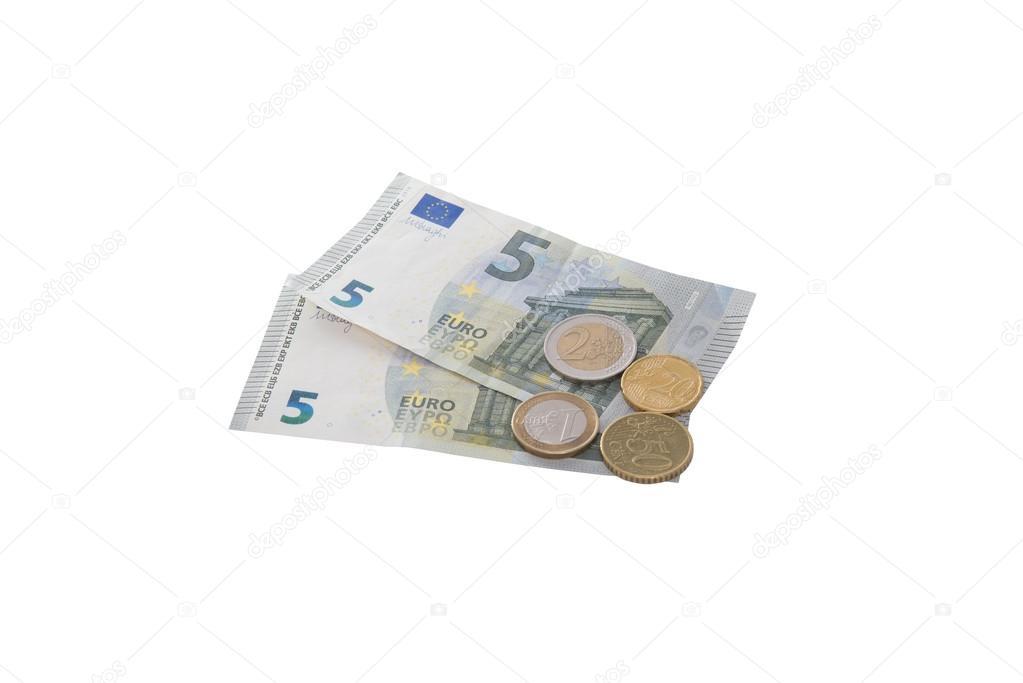 Neue 5 Euro Banknote Mit Münzen Redaktionelles Stockfoto
