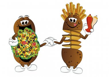 Two cartoon potatoes, turkish and twist with fries