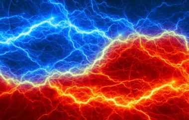 Abstract fire and ice lightning