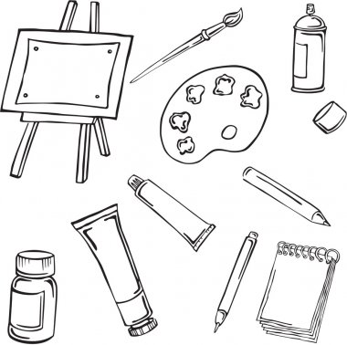 Vector silhouettes of various art supplies