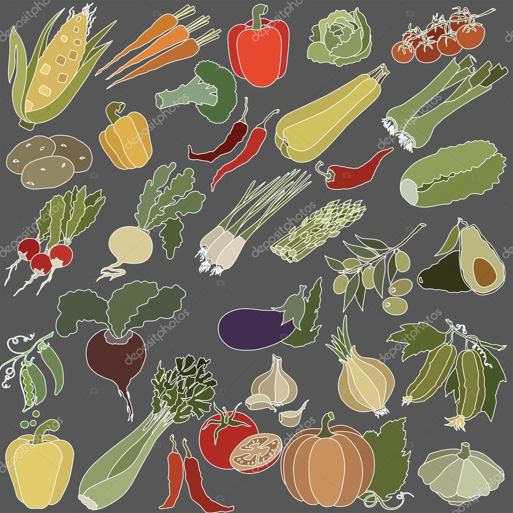 Vector illustration of a variety of vegetables