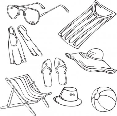 Vector illustration of silhouettes of various elements of the holiday at the sea