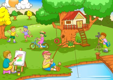 Children playing under tree house