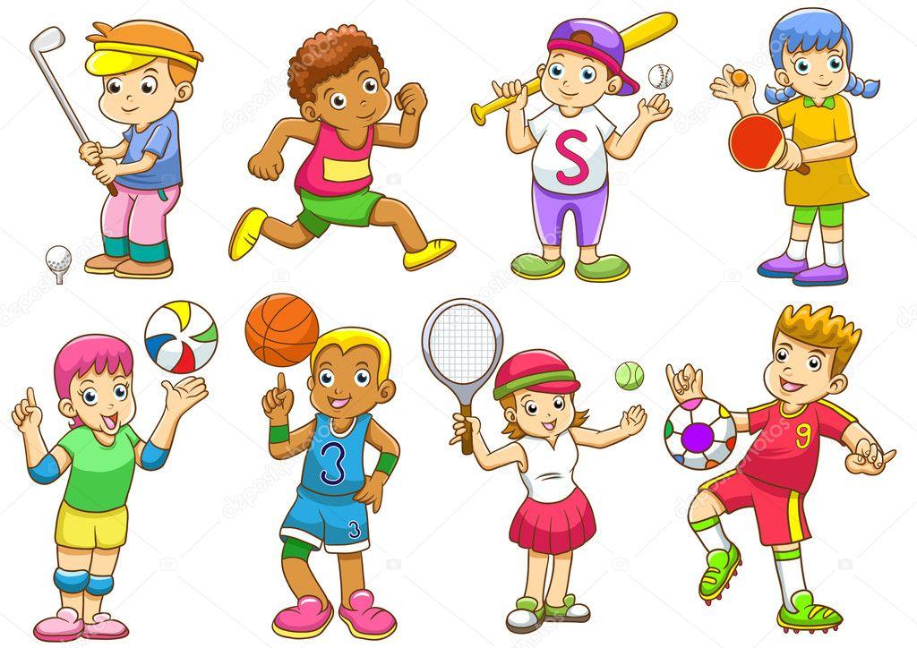 Deportes Diferentes Deportes: Ilustración De Niños Jugando Diferentes Deportes