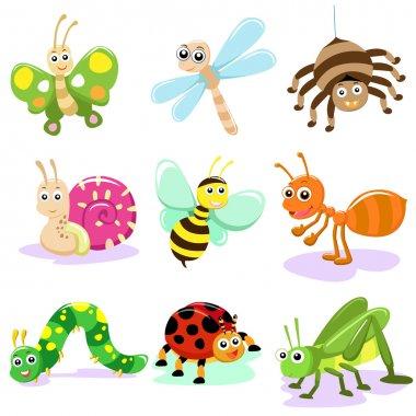 """Картина, постер, плакат, фотообои """"насекомые cartoon set """", артикул 29702791"""