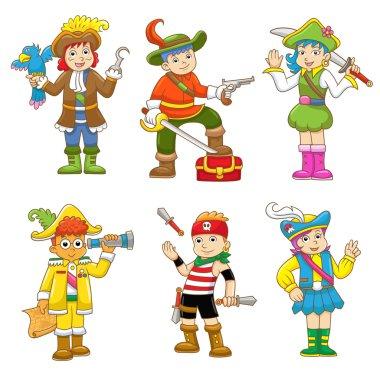 set of pirate child cartoon