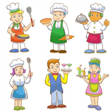 cartoons of kids chefs and set of cooking