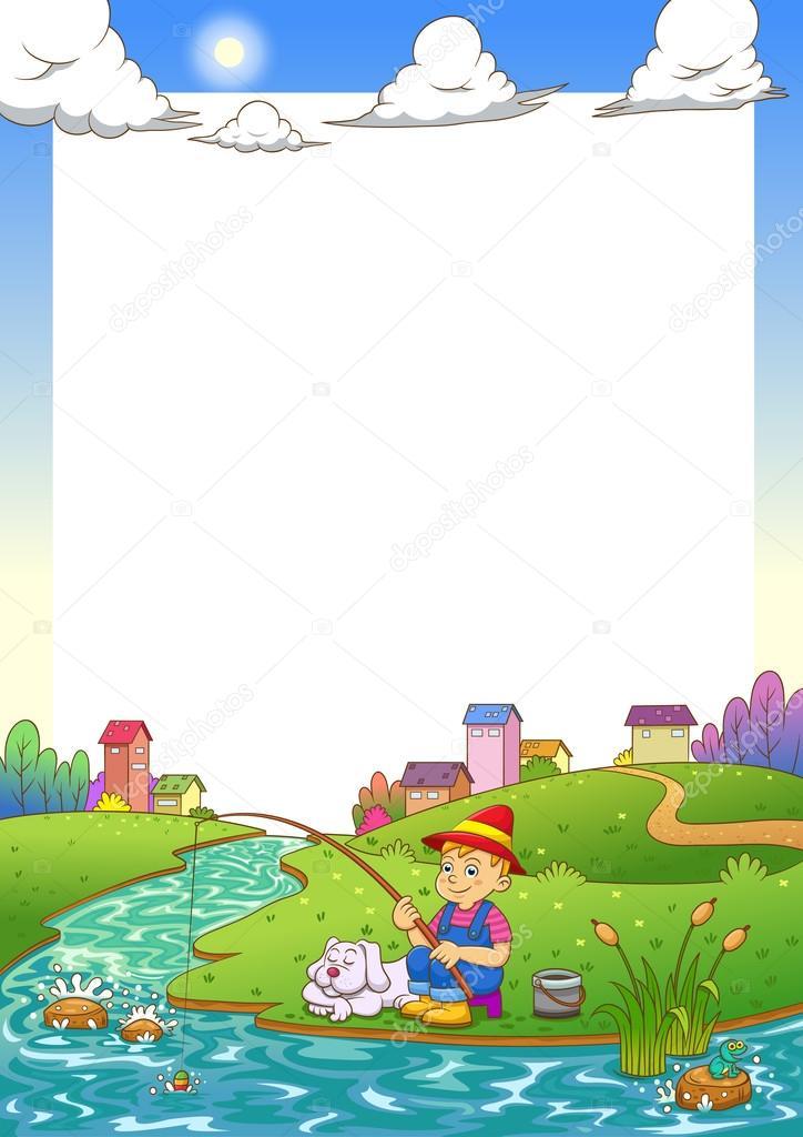 fishing boy frame. — Stock Photo © akarakingdoms #33216467