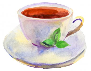 Cup of tea and a natural green leaf watercolor