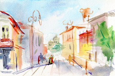 Illustrated Parisian street . watercolor