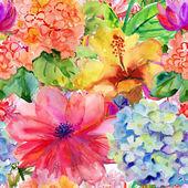 abstraktní akvarel ručně malované pozadí s magnolia, ibišky a orchidej.