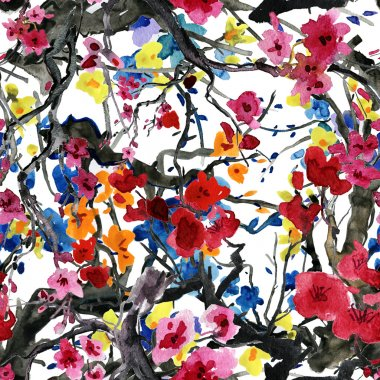 backgrounds with cherry and plums flowers