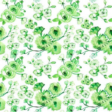 green floral silhouettes