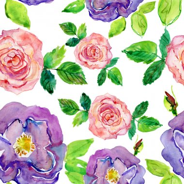 Roses Seamless Pattern. Seamless watercolor paintings. Abstract watercolor hand painted backgrounds stock vector