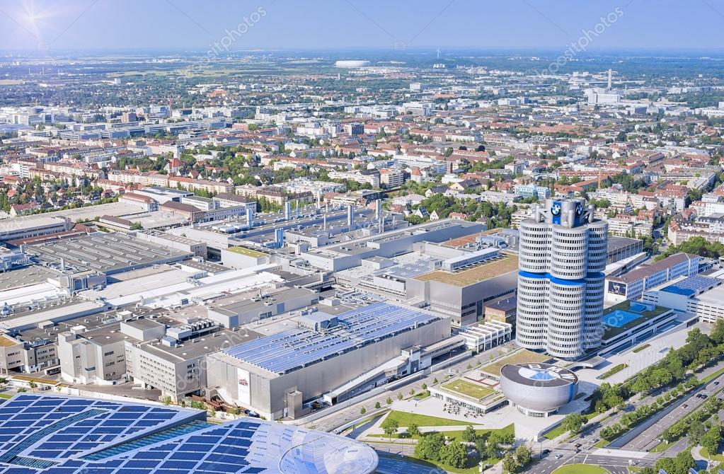 Munich, Germany- june 17, 2012: aerial view of Munich industrial