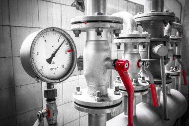 pressure gauge is an industrial pipe, valves, detail