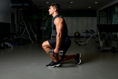 Man workout posture body building exercises weight training