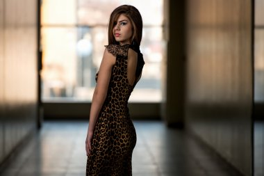 Model Wearing A Dress With Animal Print