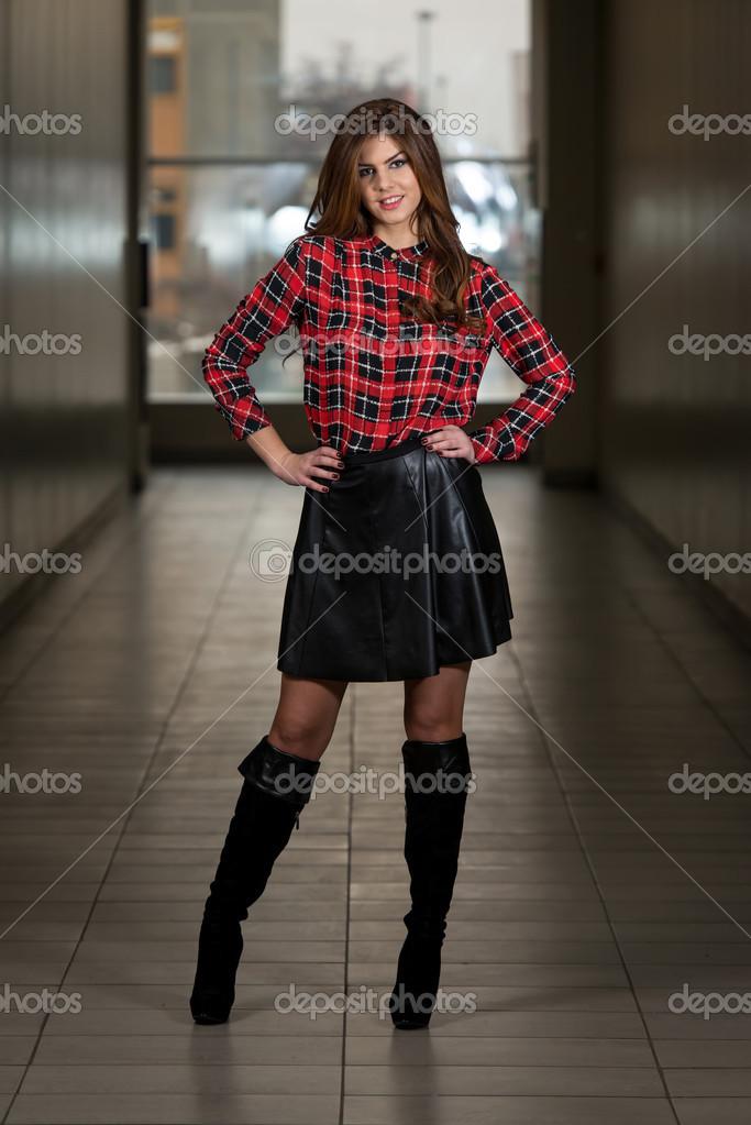 Beautiful Woman Wearing Black Leather Skirt — Stock Photo © ibrak ...
