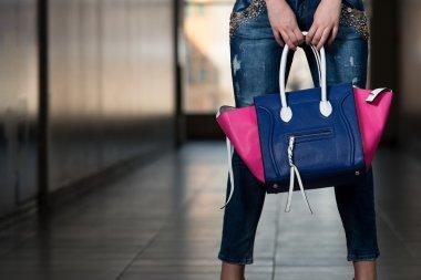 Model Showing Fancy Blue Bag