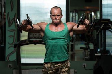 Bodybuilding Shoulder Exercise With Dumbbells