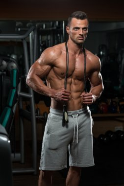 Handsome Muscular Man With Jumping Rope - Cardio Time