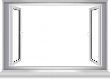 Open window, white wall.Vector.